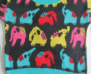 Vintage-Sweater-Happy-Elephants-100-Cotton-Knitted-XL-Made-in-USA-Ugly-Style