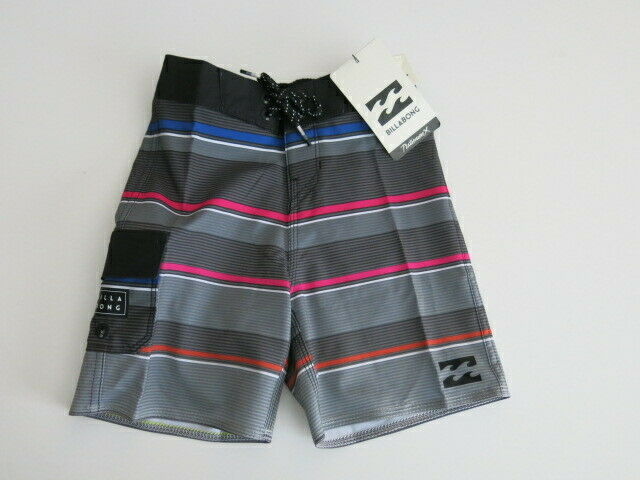 29e9fb5fd22bb Billabong Boys Toddler 3T Board Shorts Black Gray Blue Pink Stripe All Day X