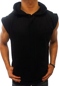plain BLACK sleeveless HOODIE S XXL gym RETRO boxing mma SWAG ...