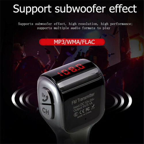 Wireless Bluetooth5.0  Car FM Transmitter Radio Adapter USB Charger Mp3 Player