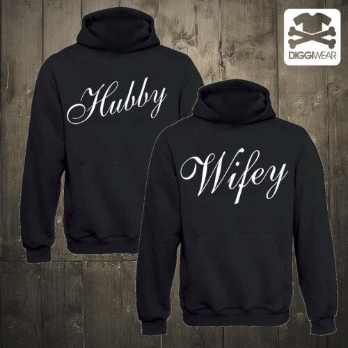 Hubby Wifeypartner HoodiesCoppia Matrimonio coppiette con cappuccio Pullover S-XXXL