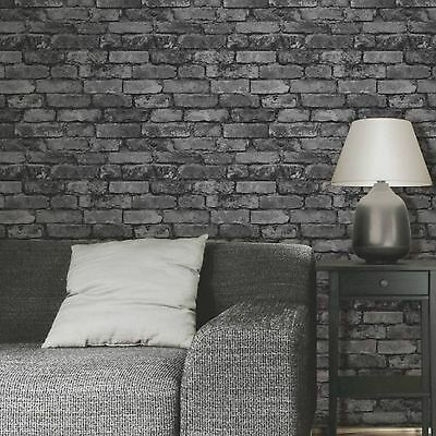 RUSTIC BRICK EFFECT WALLPAPER 10m CHARCOAL SILVER GREY by FINE DECOR FD31284