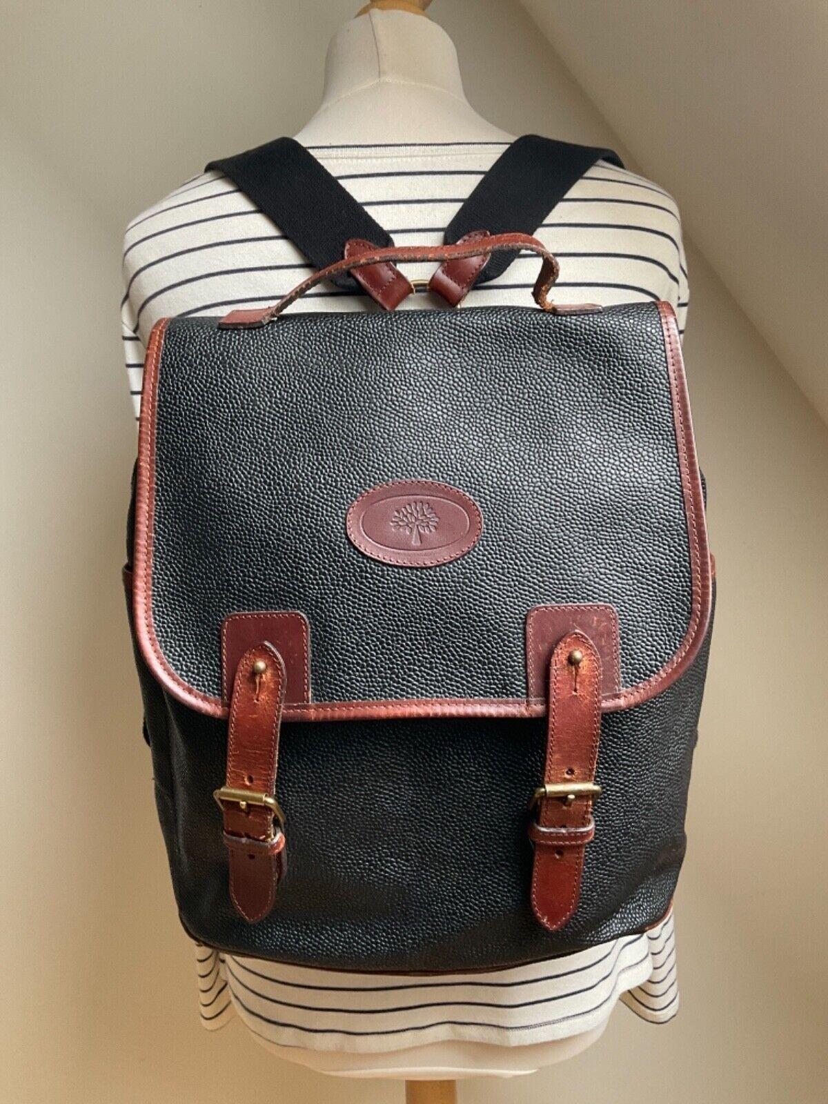 Vintage Mulberry black Scotchgrain + branston leather trim backpack rucksack bag