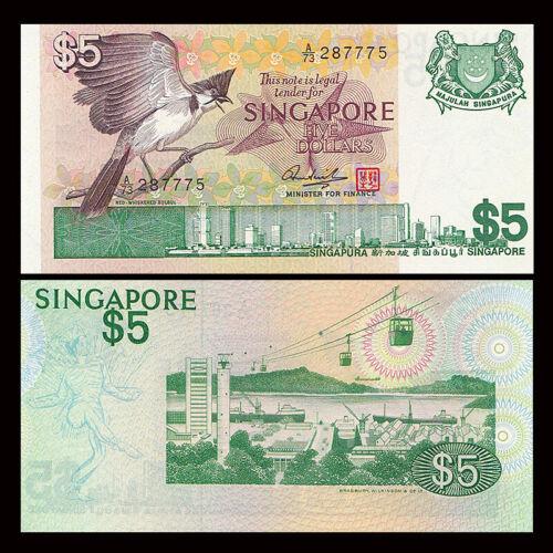UNC Bird Singapore 5 Dollar P-10 1976
