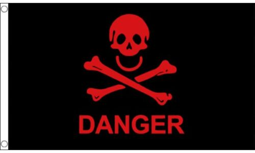 Flag Banner Pirate Red Danger 5ft x 3ft 150cm x 90cm
