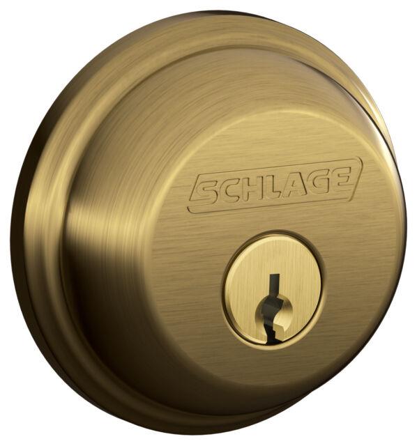 Schlage B60NBRK609C Single Cylinder Deadbolt Lock Keyed 1 Side Antique Brass