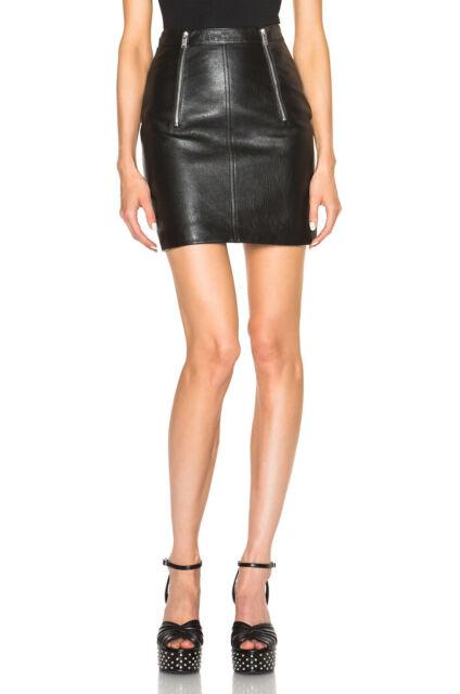 ae1a464f17 Saint Laurent Paris Black Leather Mini Skirt Zipper Women's 44 40 42 46  $3,844