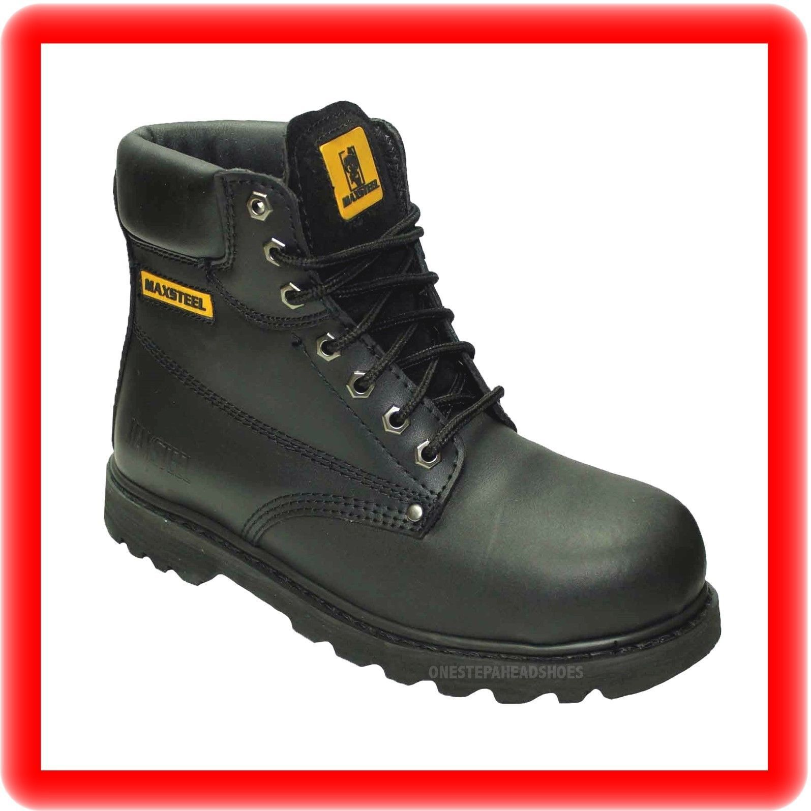 MENS NEW BLACK  LEATHER  SAFETY  WORK  BOOTS STEEL TOE CAP  SHOES   SIZE  9 43
