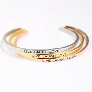 Details About Live Laugh Love Stainless Steel Inspirational Jewelry Id Mantra Bracelets Bangle