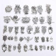 Free 10//50Pcs Tibetan Silver Owl Charms Pendant For Bracelet Jewelry 22x11mm