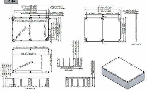 1pc Sealed DIE-CAST Aluminum Enclosure Box G124 222x146x55mm LxWxH IP65 GAINTA