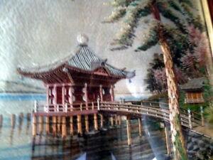 Vintage Asian Japanese Silk Embroidery Framed Art Lake Pagoda Ebay