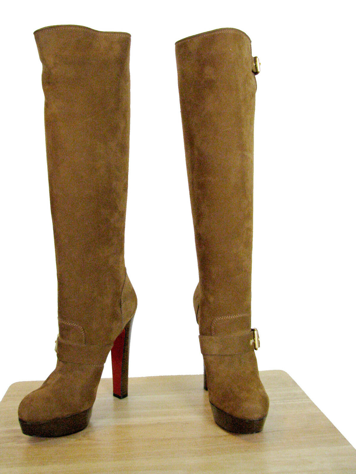 1695 CRISTIAN LOUBOUTIN HARLETTY 140 BUCKLED CALF SUEDE BOOTS 41 NIB
