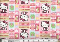 Hello Kitty Patchwork Fabric - Pink