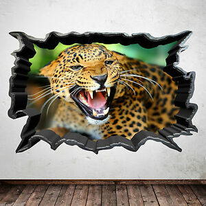 Full-colour-LEOPARD-JUNGLE-cat-animal-sauvage-Autocollant-Mural-Chambre-Art-Transfert-Autocollant