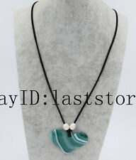 """green veins   agate  heart and white freshwater  pearl necklace 25"""""""