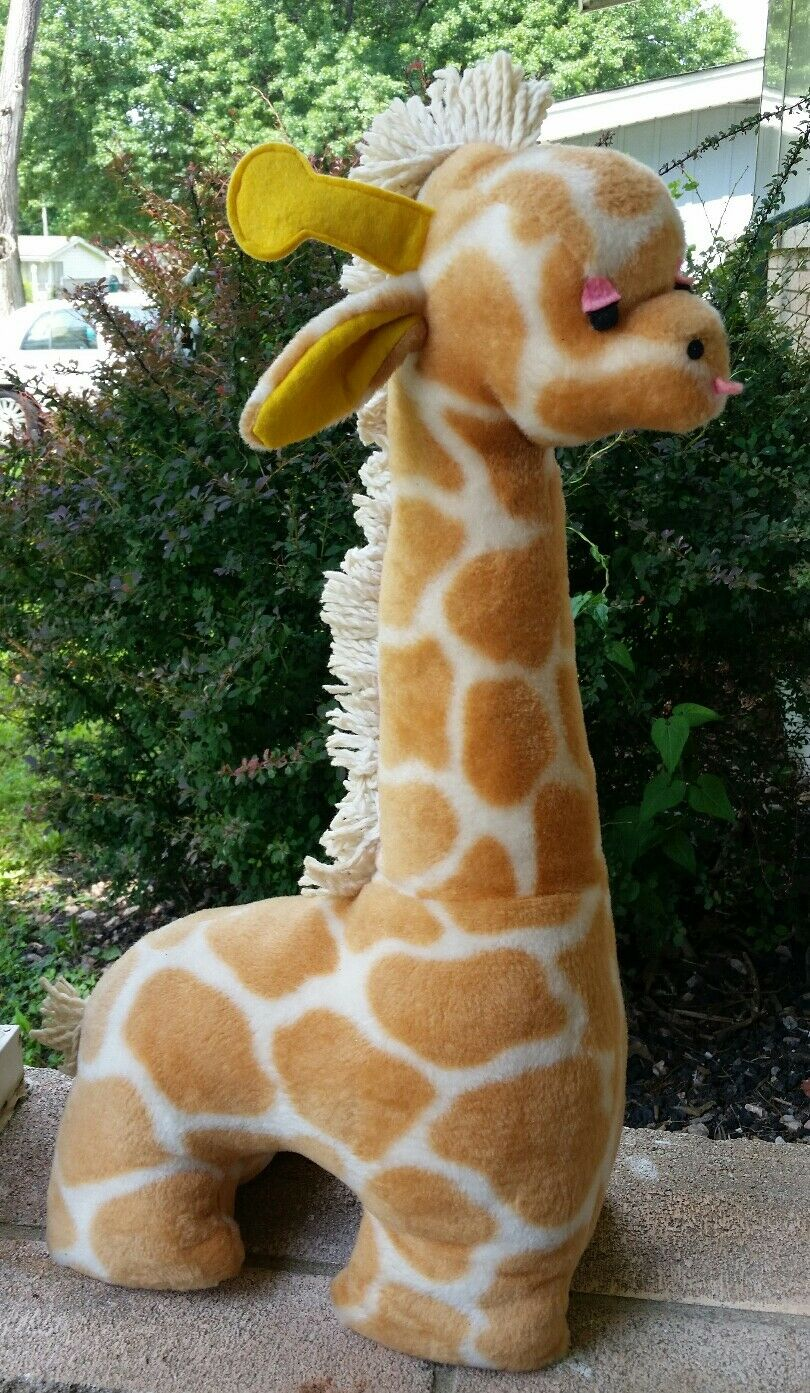 Giraffe Stuffed Animal Eden Vintage collectible mop Mane Tail 24