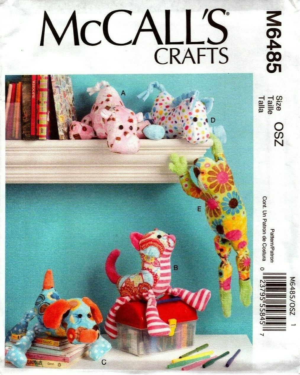 McCalls Patterns M6485 Stuffed Animals One Size Only