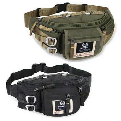 Men women's Running Travel sport school Fanny pack Waist bag Black Green nylon