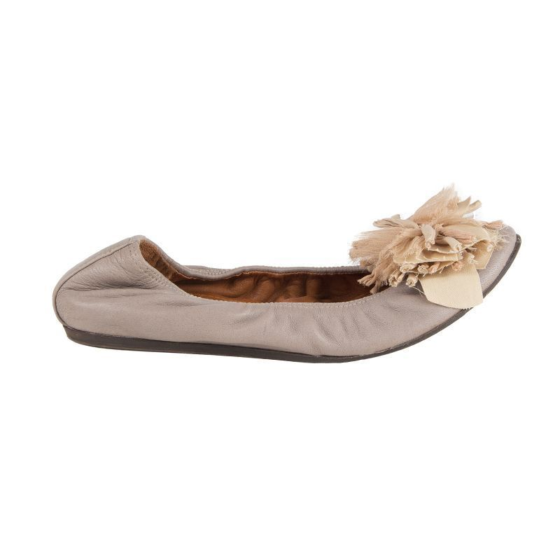 52494 Flor De Cuero gris gris gris Pardo Auth Lanvin Ballet Zapatos sin Taco 38  muchas concesiones