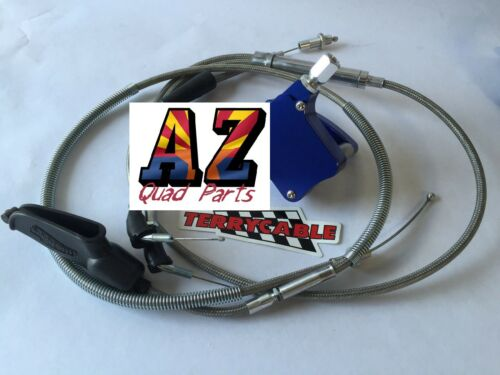 Banshee Steel Braided Terrycable Clutch Thumb Throttle Cable Blue Billet 35 mil