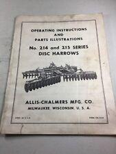 Allis Chalmers No 214 215 Disc Harrow Operators Manual Amp Parts Illustrations
