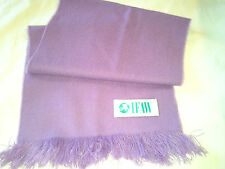 Vintage Lavender Colored IFAW Wool Scarf Long Rectangular shape with Fringe Edge