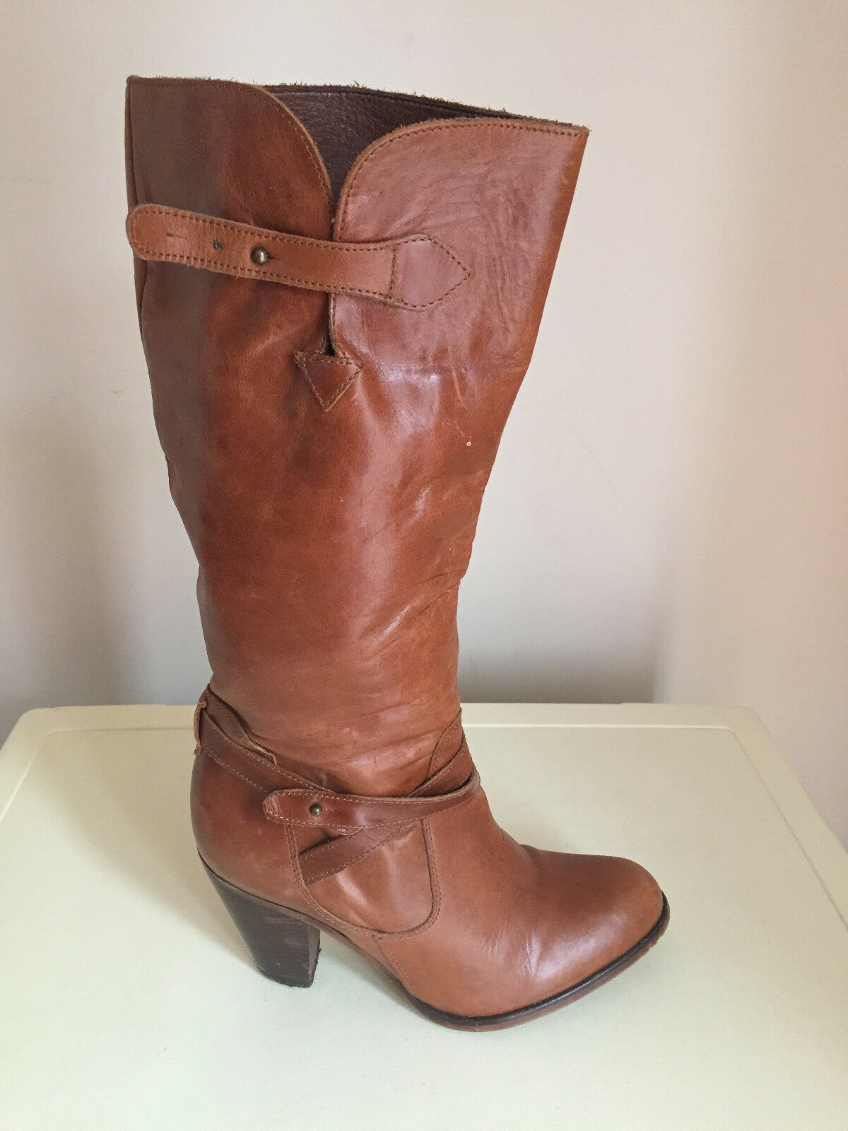 WOMEN OFFICE TAN LEATHER KNEE HIGH  BOOTS SIZE UK 38F