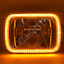 "thumbnail 4 - 1 Pair, Chrome LED JTX Headlights, 5x7"", White Halo, Flashes Amber, suits Hilux"