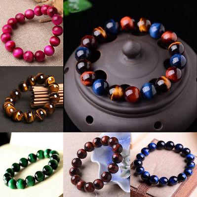 100/% Natural Gemstone Tiger Eye Beads Ladies Men/'S Bracelet Jewelry YPI POH