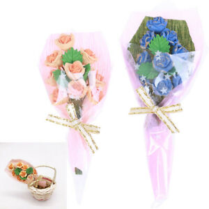 1x-1-12-Dollhouse-miniature-bouquet-of-roses-mini-bouquet-valentine-039-s-day-gift3C
