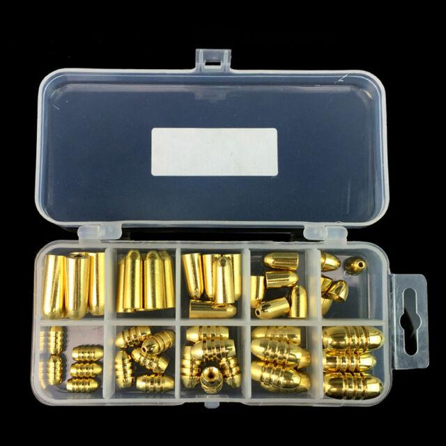 50x Fishing Weight Assorted Bullet Shape Copper Lead Sinker Kit Tackle Sinkers
