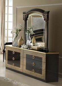 Image Is Loading Daya Italian Black Gold 6 Drawer Double Dresser