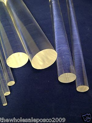 "CLEAR ACRYLIC PERSPEX ROUND ROD CIRCULAR BAR 4"" TO 12"" LONG 3MM TO 50MM DIAMETER"