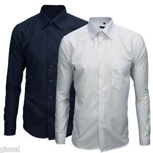Camicia-Uomo-Cotone-Basic-Casual-Manica-Lunga-Colori-Vari-M-L-XL-XXL-XXXL