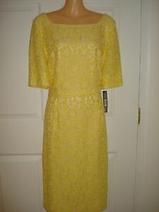 ... -Short-Sleeves-Yellow-Lace-Knee-Length-Cocktail-Sheath-Dress-Size-12P