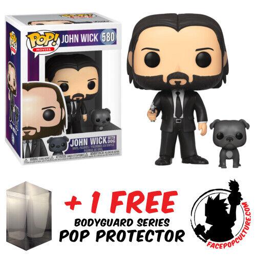 FUNKO POP VINYL JOHN WICK WITH DOG #580 VINYL FIGURE + POP PROTECTOR