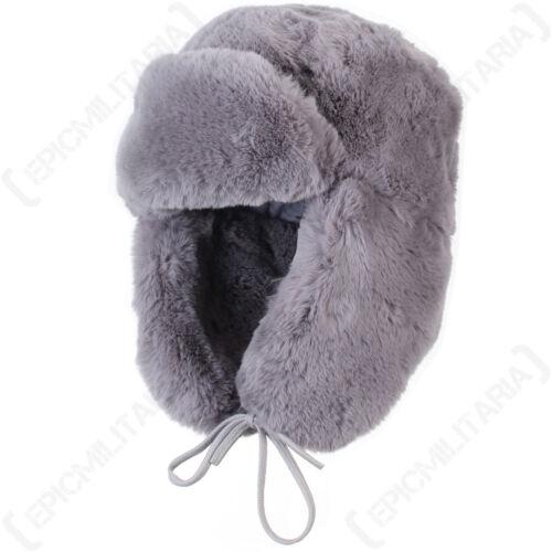 Grey Faux Fur Ushanka Winter Warm Russian Cossack Thick Ski Ear Flap Hat New