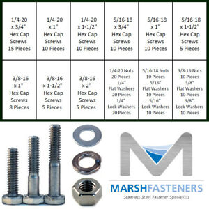 18-8-Stainless-Steel-COARSE-Hex-Cap-Screws-Assortment-Bolt-Kit-W-Nuts-amp-Washers