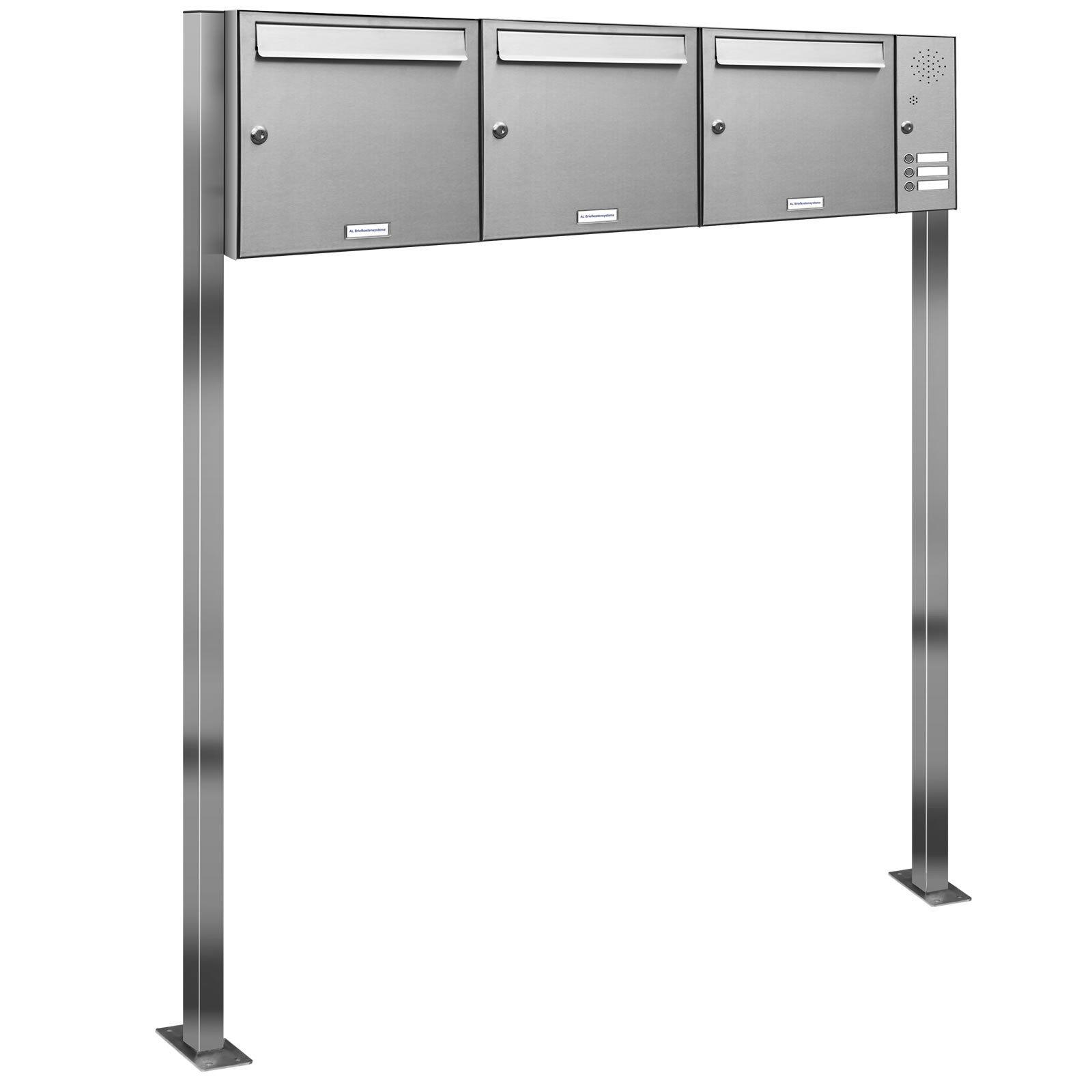 3 er Premium Edelstahl Stand Briefkasten Anlage mit Klingel A4 Postkasten 3x1