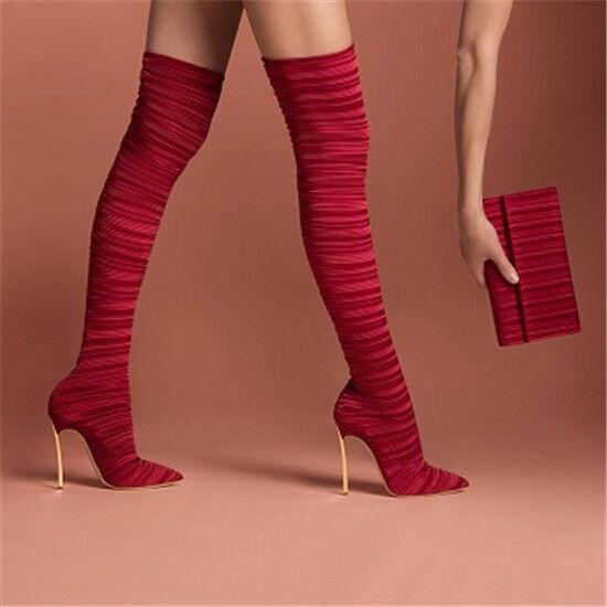 Mujeres botas Altas Muslo Elástico Puntera Puntiaguda encima de la rodilla Sexy Club nocturno zapatos grandes