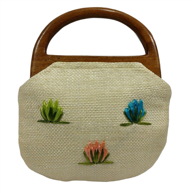 Vintage 60s Raffia Handbag Floral Print Top Handl… - image 7