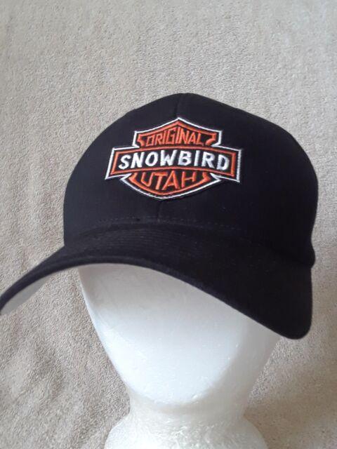 b276bd749bd SNOWBIRD UTAH ORIGINAL Hat Ball Cap Harley Davidson Logo Black Flexfit Size  S-M
