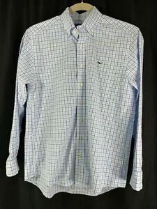 Vineyard-Vines-Mens-Whale-Shirt-Long-Sleeve-Button-Front-Blue-White-Plaid-M