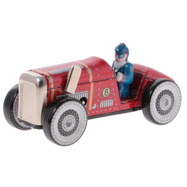 Retro Wind Up Racing Car with Key Clockwork Metal Tin Toys Collectible Gifts