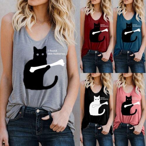 Damen Katzen Trägershirt Sommer Ärmellos Oberteil T-Shirt Freizeit Bluse Tanktop