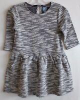 Baby Gap Girl Black & White Metallic Marled Knit Dress W/ 3/4 Sleeves