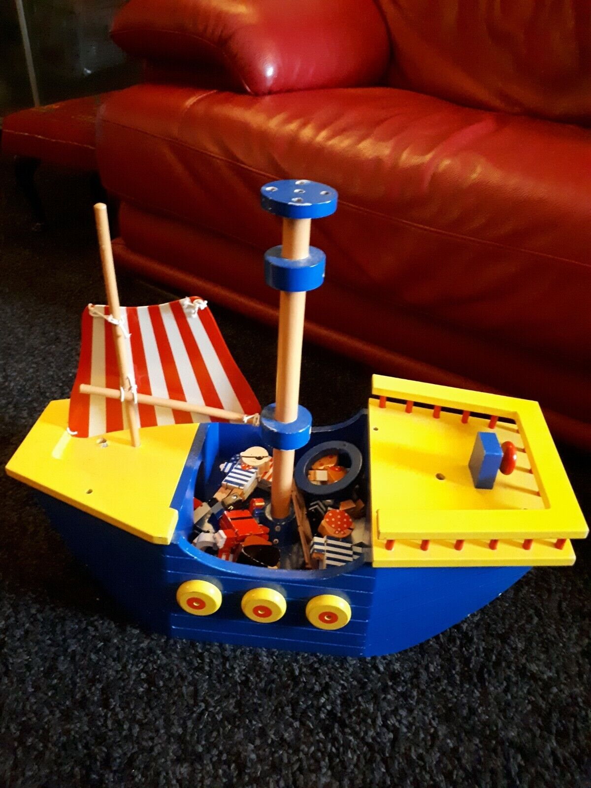 Gorgeous nautical toy large wooden boat wooden figures pirates unique gift