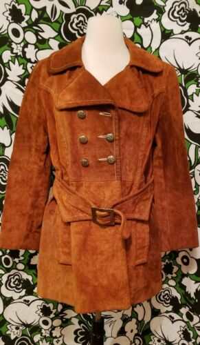 Vintage 60s 70s Rust colored Suede belted Jacket