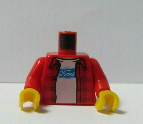 LEGO corpo tronco per minifigura Camicia check ROSSO FORD LOGO AUTO MECCANICO